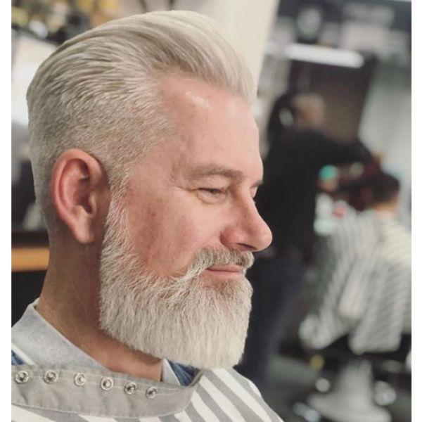 White Sleek Pompadour Hairstyle