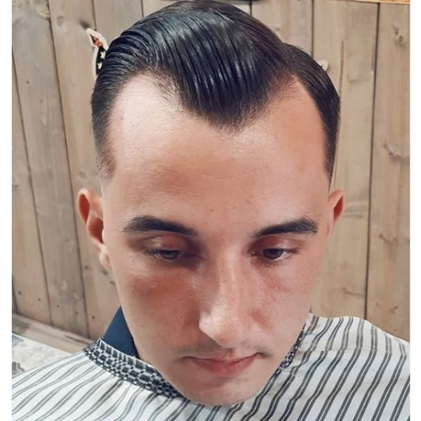 Widow's Peak Slick Back Hairstyle Hairstyles For Men With Receding Hairlines
