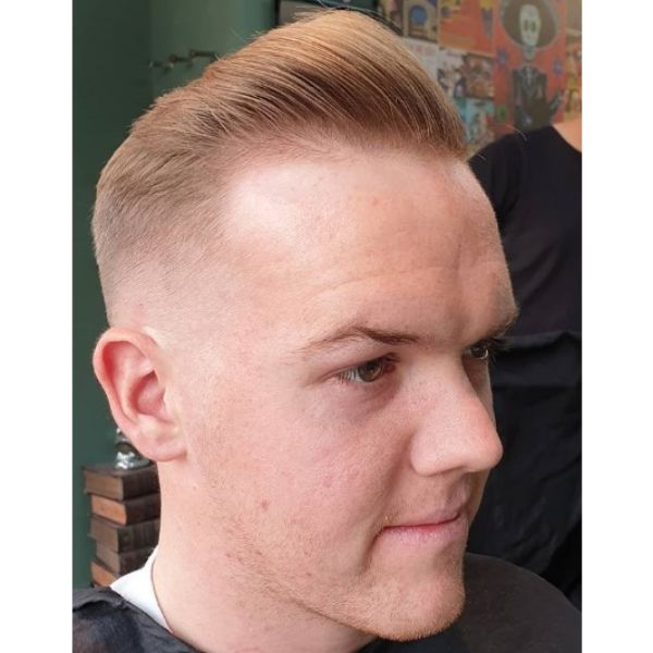 Zero Fade and Natural Pomp With Mature Hairline