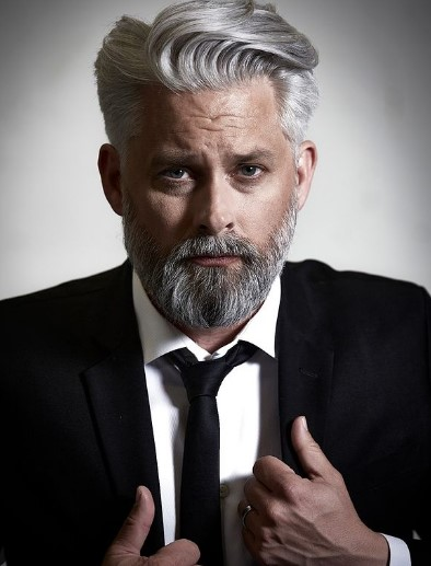 Pointy Silver Gray Beard For Triangle Face Shape