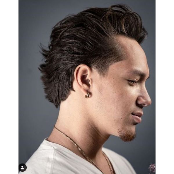 Back-swept Layered Haircut with Faded Sides Haircut