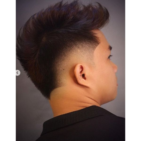 Burst Fade with Faux Hawk and Layered Top Hairstyle