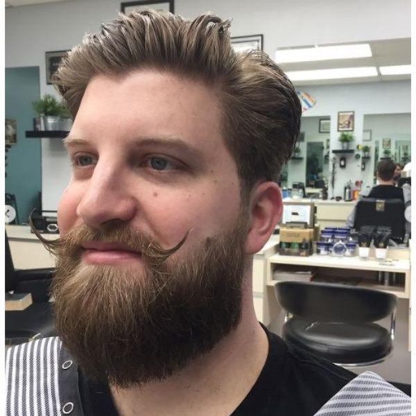 Bushy Beard With Handlebar Mustache
