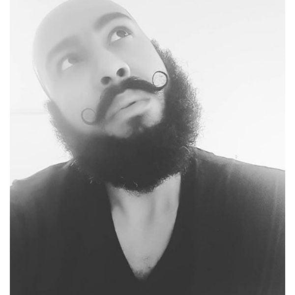 Curly Curtain Beard With Dali Mustache