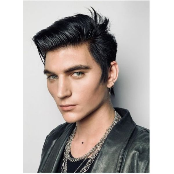Dark Layered Haircut With Side-swept Strands layered haircuts for men