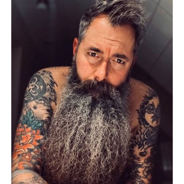 Extra Long Beard With Silver Gray Strands