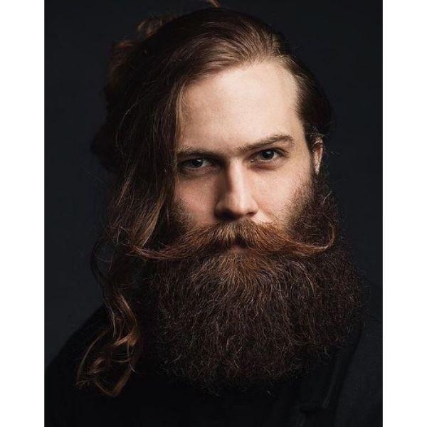 Full Bushy Beard With Long Wispy Mustache