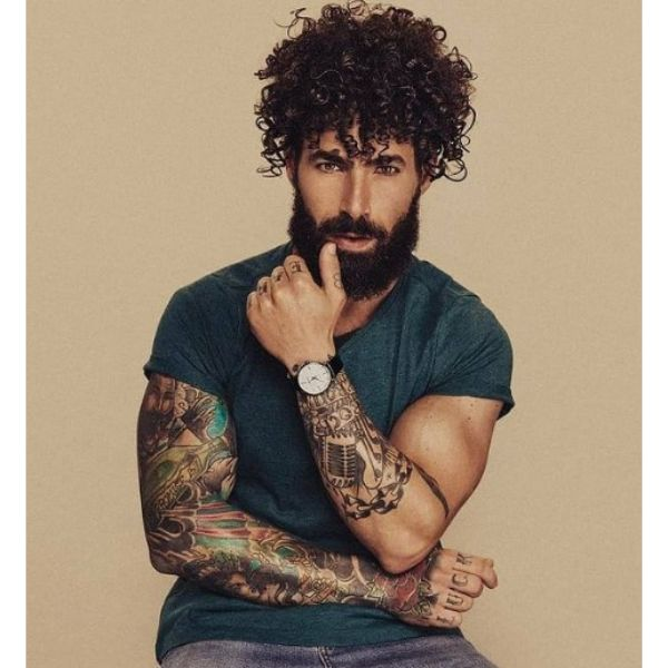 Full Short Beard With Curly Top