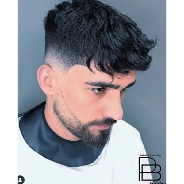 High Fade With Layered Top And Bangs