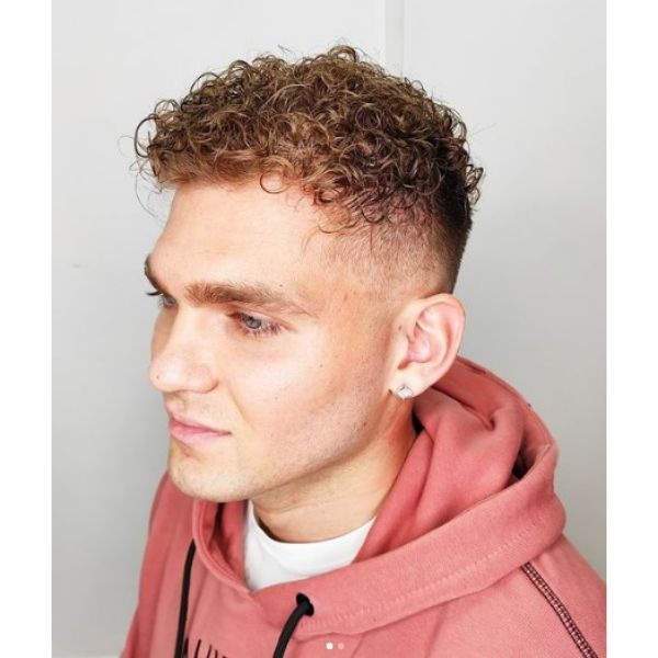 High Fade with Blonde Red Curls
