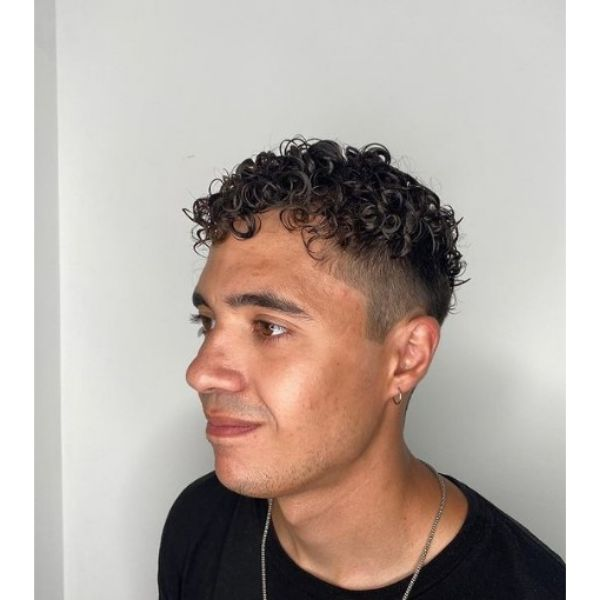High Fade with Defined Curls Hairstyles For Men