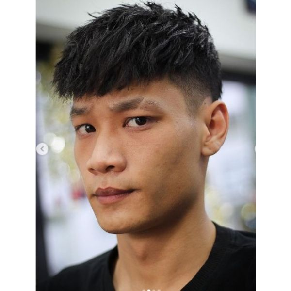 High Fade with Layered Top Undercut