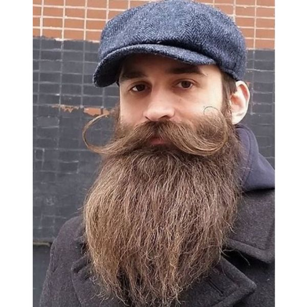 Long Beard With Curvy Mustache