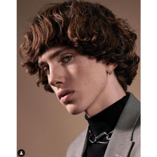 Curly Bowl-Cut Hairstyle curly hairstyles for men