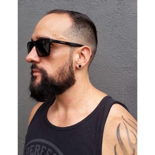 Long Curtain Beard With Short Mustache