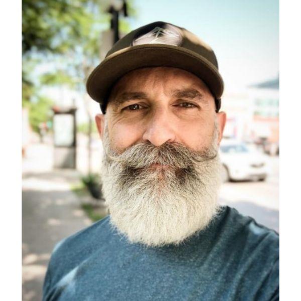 Long Full Silver Beard Hairstyle