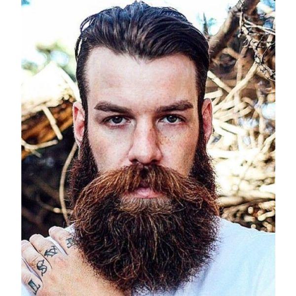 Long Mustache with Curtain Beard