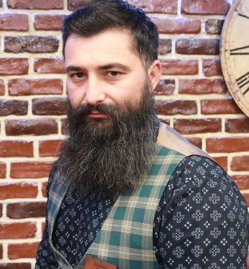Long Natural Garibaldi Style Beard with Silver Strands