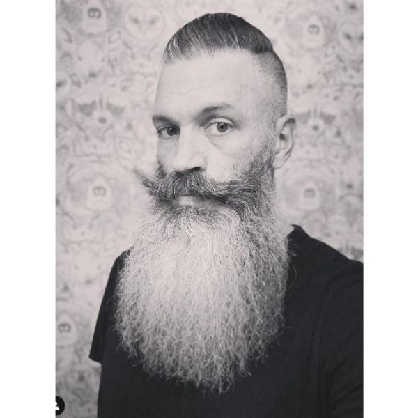 Long Silver Gray Beard With Handlebar Mustache
