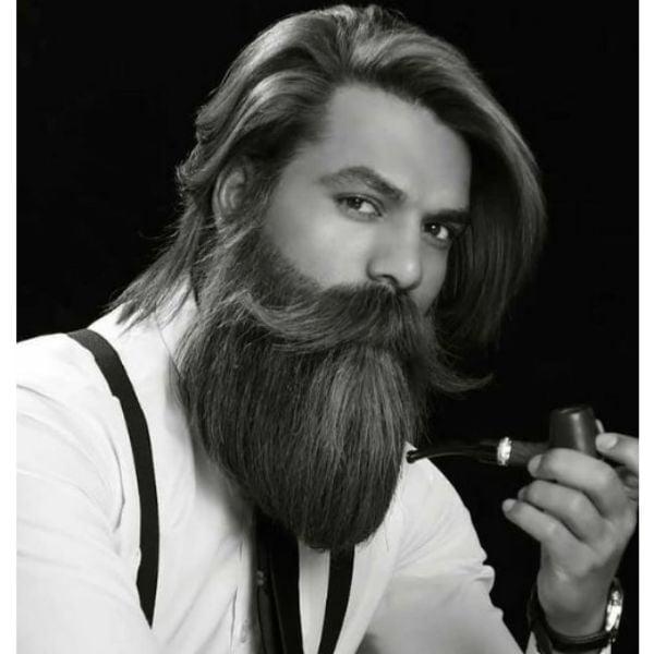 Long Soft Beard With Long Mustache