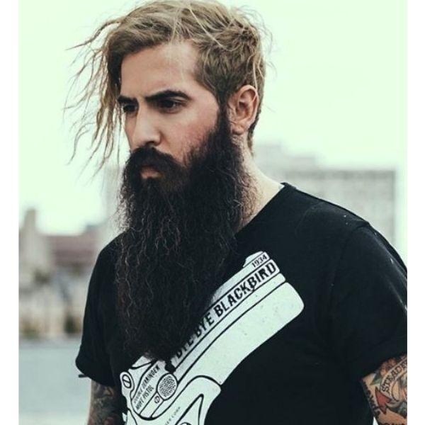 Long Wavy Beard With Mustache