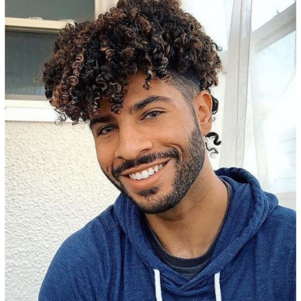 Low Fade with Blonde Brown Curly Top