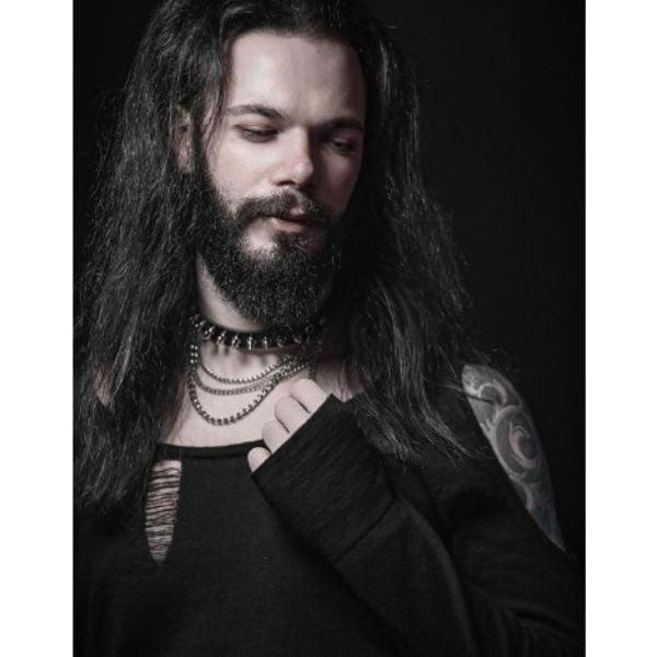Metal Style Beard With Long Hair