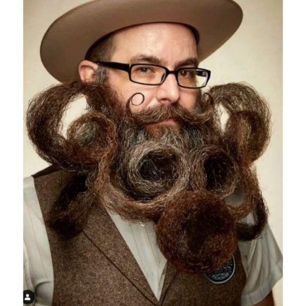 Octopus Shaped Beard With Handlebar Mustache