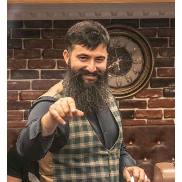 Power Beard With Long Mustache