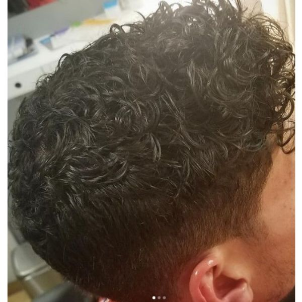 Short Curly Hairstyle with Taper Haircut