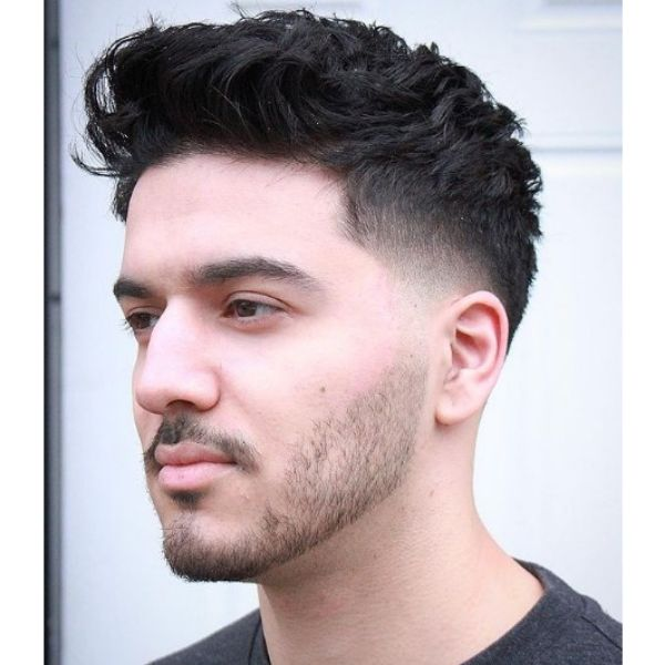 Short Fade With Messy Layered Top Haircut
