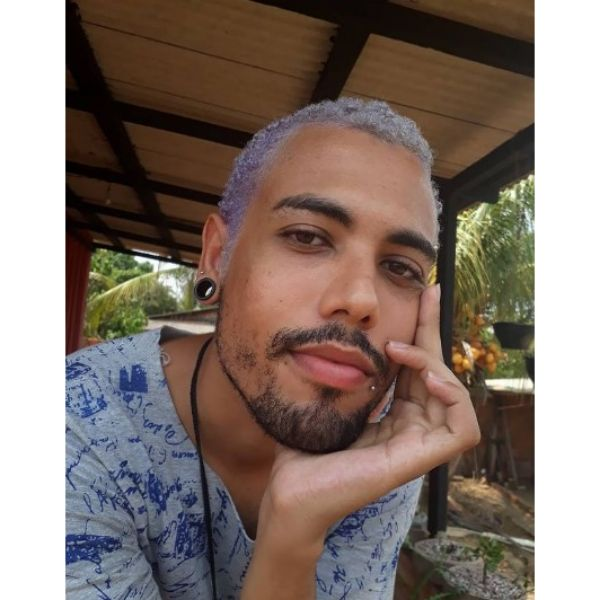 Short Purple TWA Hairstyles For Curly Men