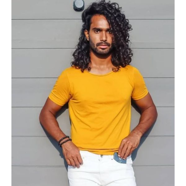 Side-swept Curly Hairstyle For Men