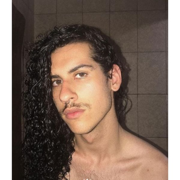Side-swept Long Curly Hairstyle With Mustache