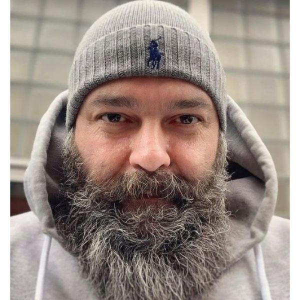 Silver Gray Beard With Mustache