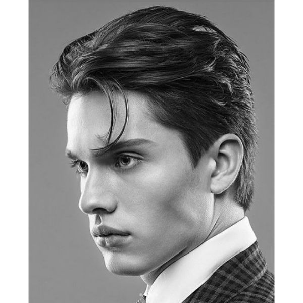 Slick Back Layered Haircut with Pointy Sideburns layered haircuts for men