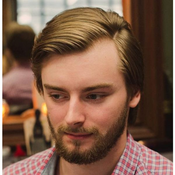 Soft Sleek Layered Haircut with Side Part layered haircuts for men