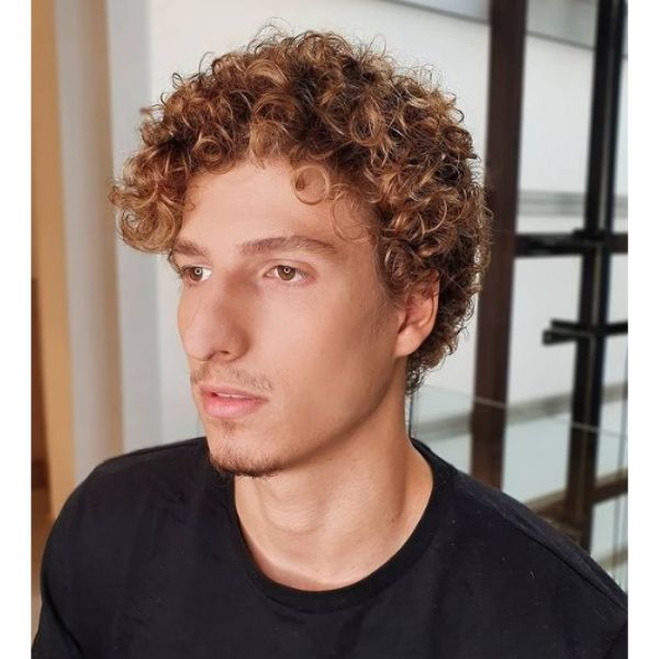 Subtle Balayage for Curly Men Hairstyle
