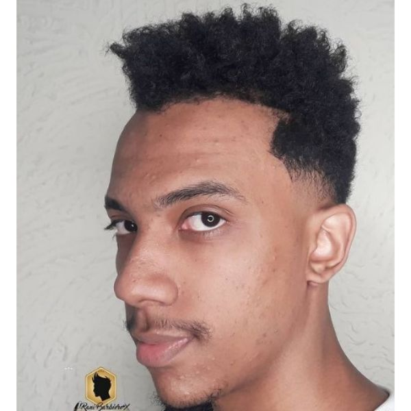 Taper Fade With Curly Top Hairstyle