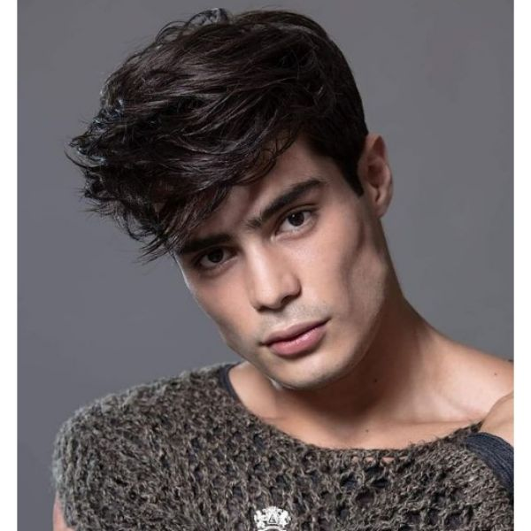 Taper With Long Soft Layered Haircut For Men