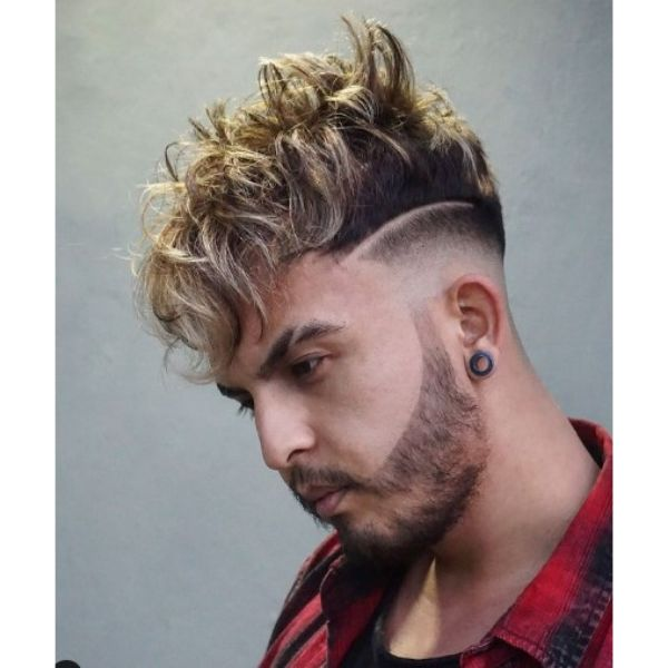 Tight Fade with Blonde Curly Top Hairstyle