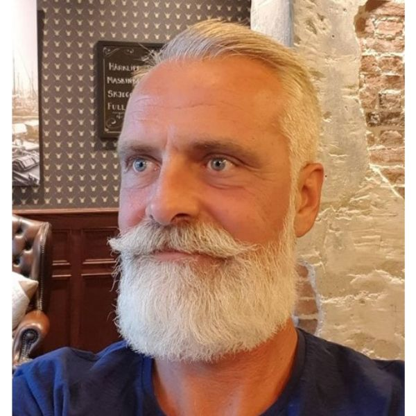 White Colored Beard With Mustache Hairstyle