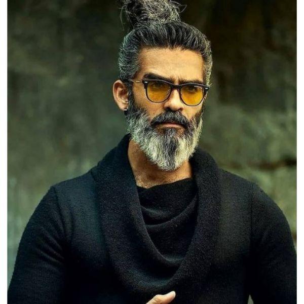 White Gray Long Pointy Beard