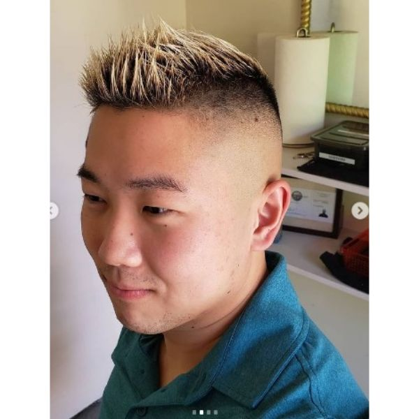 90's Style High fade haircuts for men With Frosted Tips