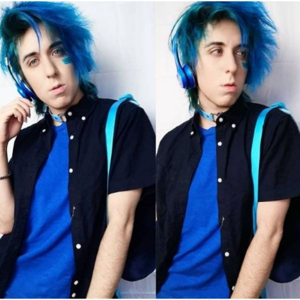 Blue Teal Emo Hairstyles For Guys With Side-swept Strands
