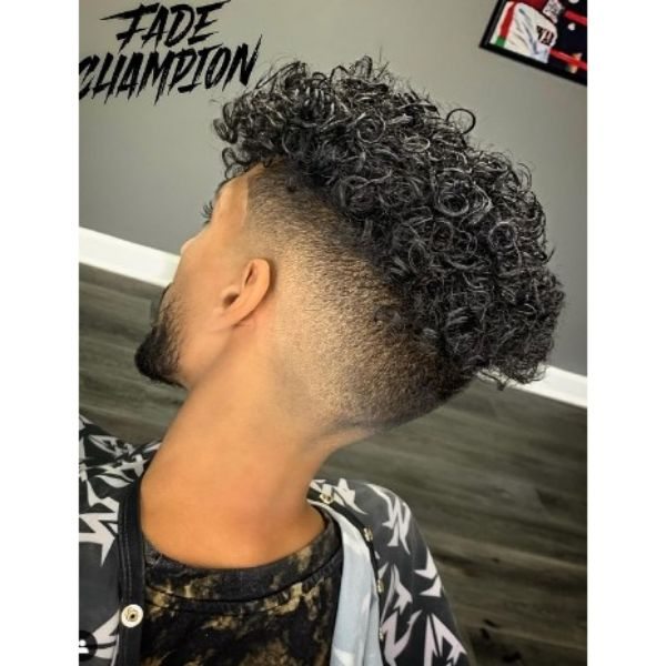 Curly Top With Skin Fade Hairstyle