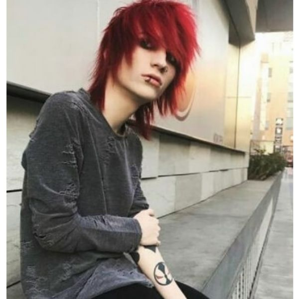 Feathered Asymmetric Emo Hairstyles For Guys