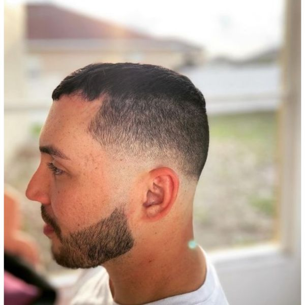 High Blurry Fade With Caesar Top
