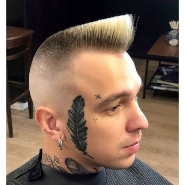 High fade haircuts for men With Blonde Psycho Quiff