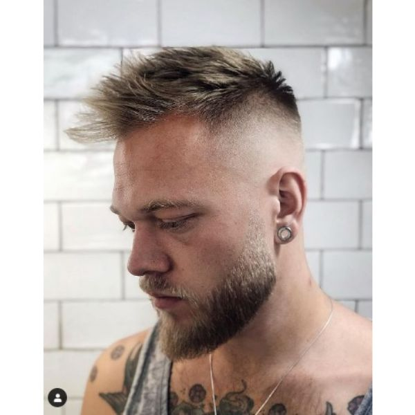 High Fade With Blonde Spiky Top